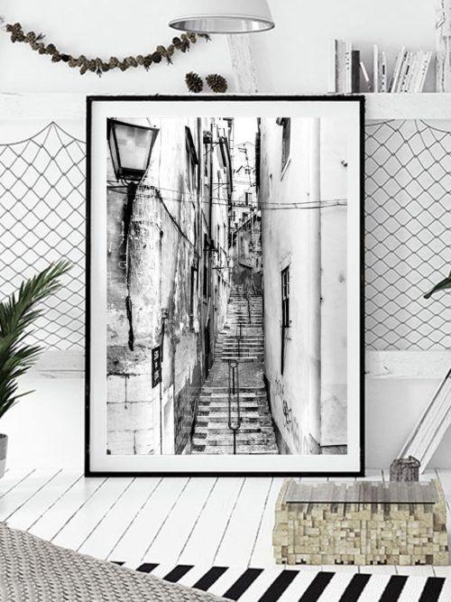 Plakat Lizbona Alfama Schodki