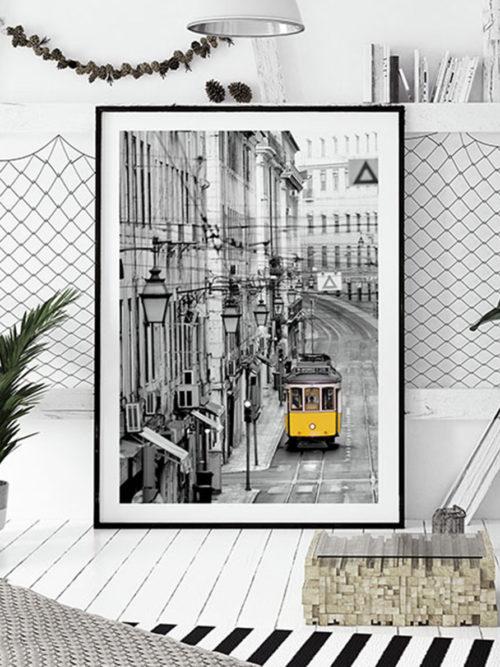 Plakat Lizbona tramwaj żółty tramwaj portugalia plakaty z lizbony