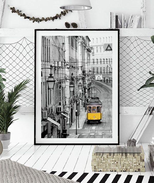 Sklep z plakatami Plakat Lizbona tramwaj żółty tramwaj portugalia plakaty z lizbony