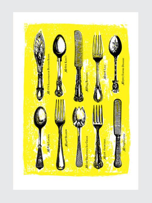 Żółty Plakat do kuchni - Plakat do kuchni - Kolekcja Sztućców Vintage