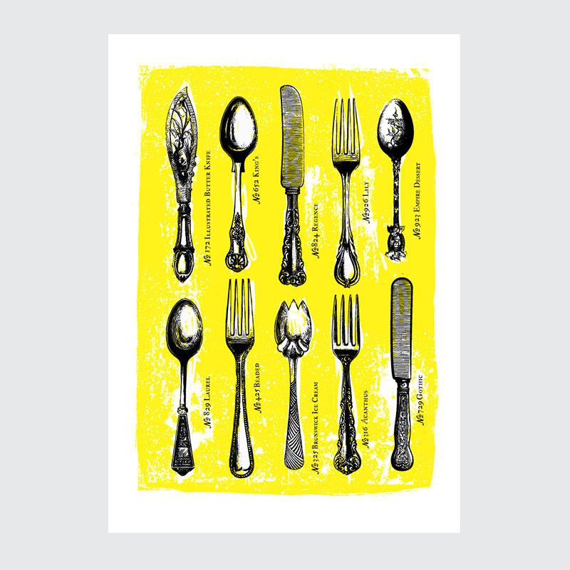 Plakat Do Kuchni Kolekcja Sztućców Vintage