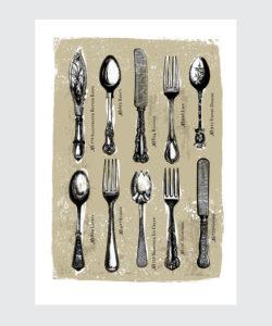 Plakat do kuchni - Kolekcja Sztućców Vintage