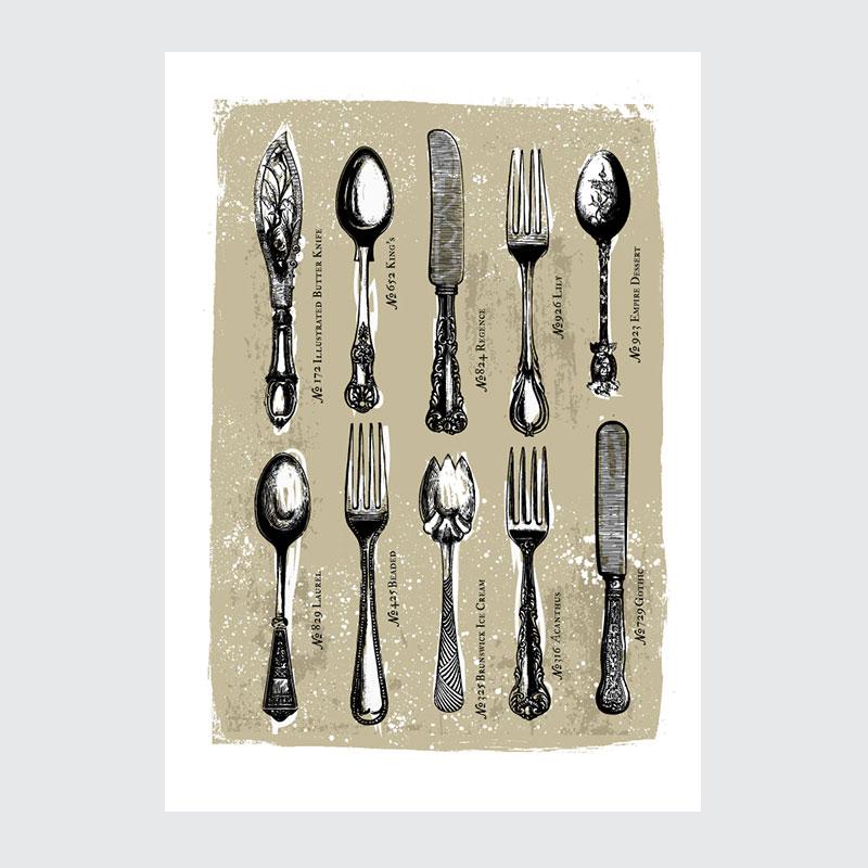 Plakat Do Kuchni Kolekcja Sztućców Vintage 02