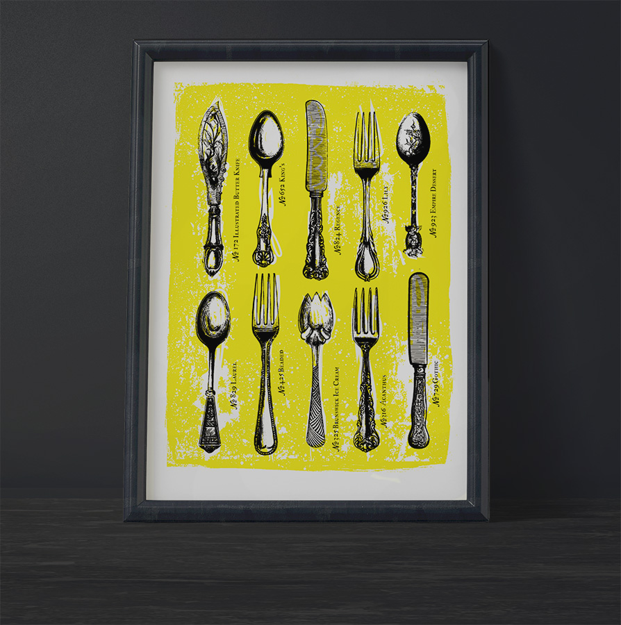 cutlery vintage art poster