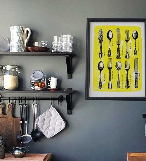 Żółty Plakat do kuchni vintage grafika popart retro