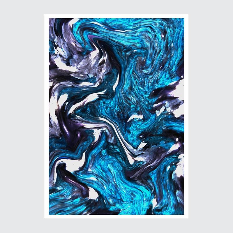 Organic ART Niebieski Marmur Plakat Dekoracyjny