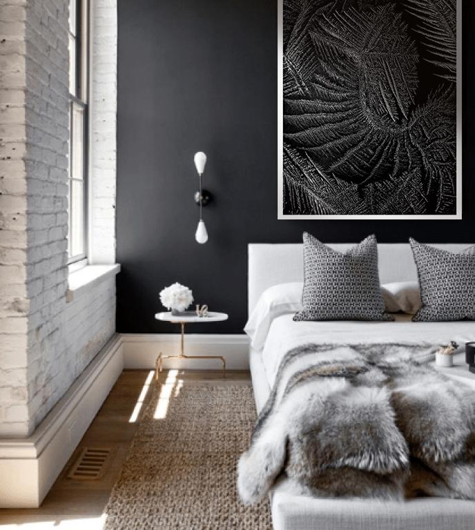 szara sypialnia dekoracje organiczne