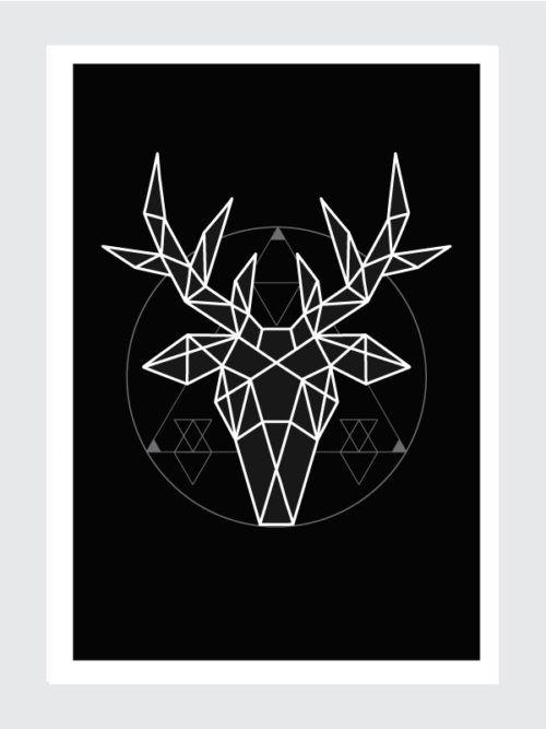Plakat Geometryczny Jeleń Tatoo Geometryczny Jeleń Plakat
