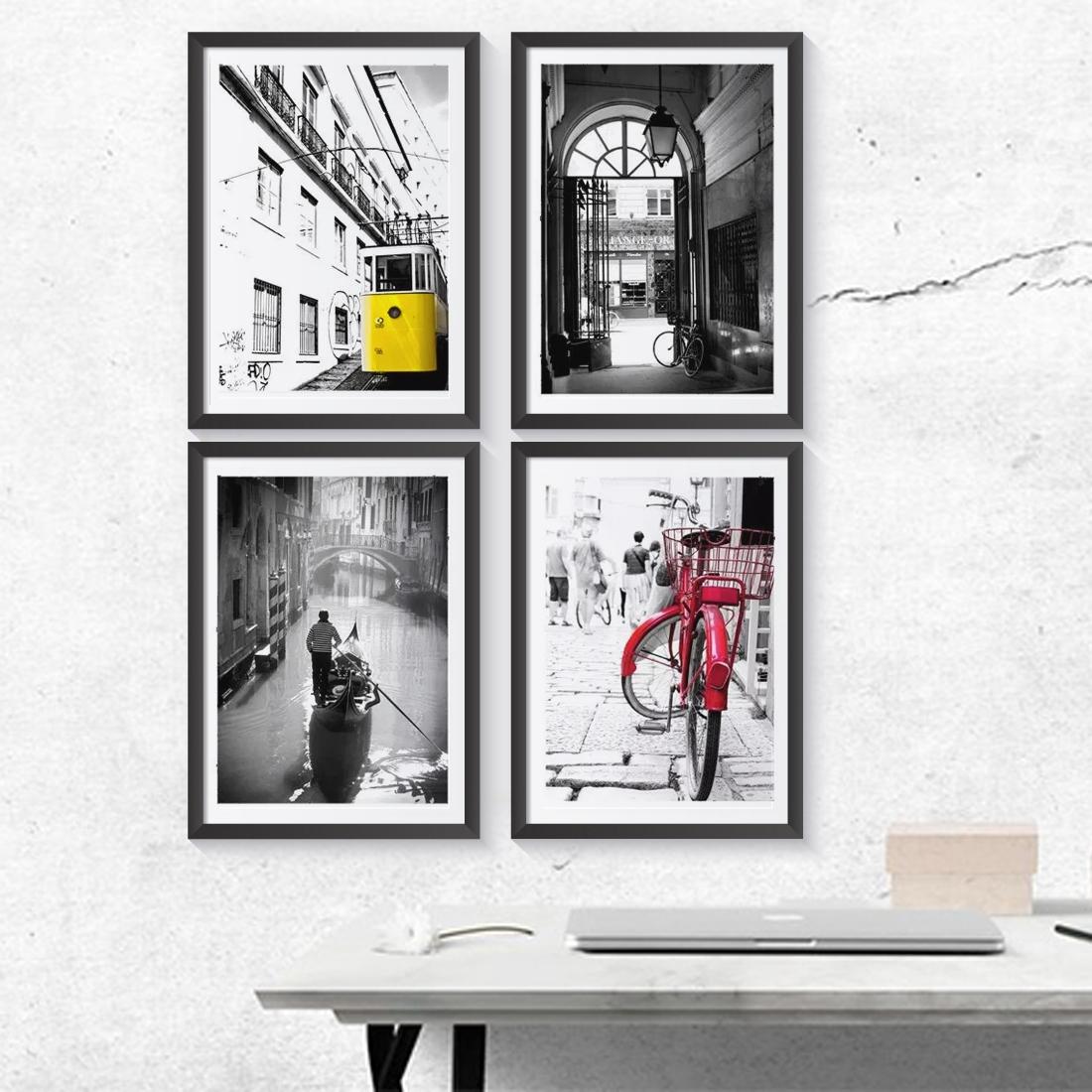 Zestaw 4 plakatów z serii MIASTA. Miasta magiczne – Lizbona, Paryż, Amsterdam, Wenecja. Plakaty oprawione w ramki, gotowe do powieszenia.