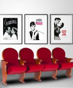 Plakaty filmowe z kina retro Śniadanie u Tiffaniego, Cassablanka i Przemineło z wiatrem. Zestaw 3 plakatów.