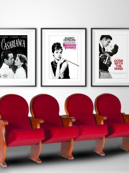 sklep z plakatami Plakaty filmowe retro w ramach Plakaty filmowe z kina retro Śniadanie u Tiffaniego, Cassablanka i Przemineło z wiatrem. Zestaw 3 plakatów.