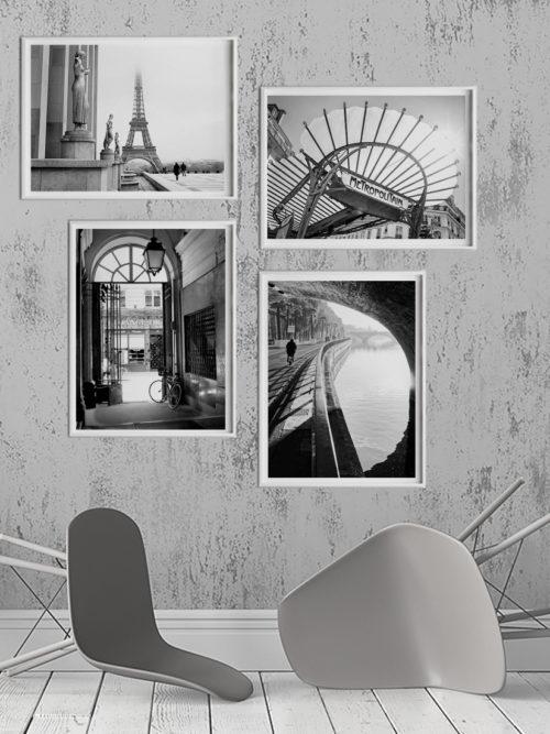 Zestaw plakatów PARYŻ w ramach, plakaty czarno białe