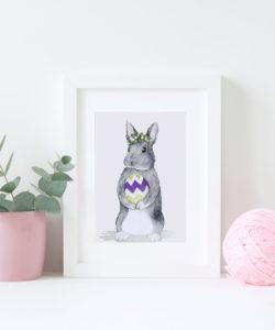 Ozdoby wielkanocne i wielkanocne dekoracje na ściany - plakat do wydruku z królikiem A4
