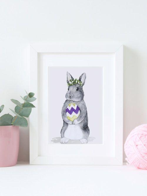 Plakat królik do druku - dekoracje wielkanocne Ozdoby wielkanocne i wielkanocne dekoracje na ściany - plakat do wydruku z królikiem A4