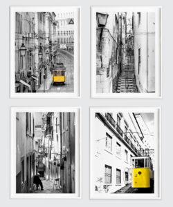 Zestaw 4 plakatów z serii LIZBONA w ramach