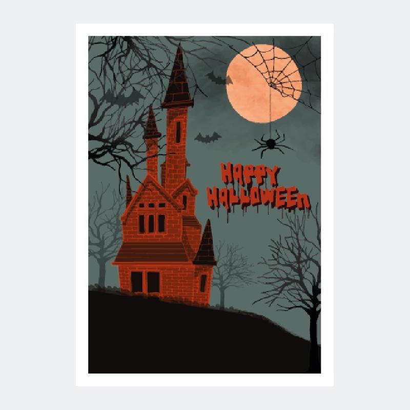 plakat z zamkiem drakuli za darmo na haloween