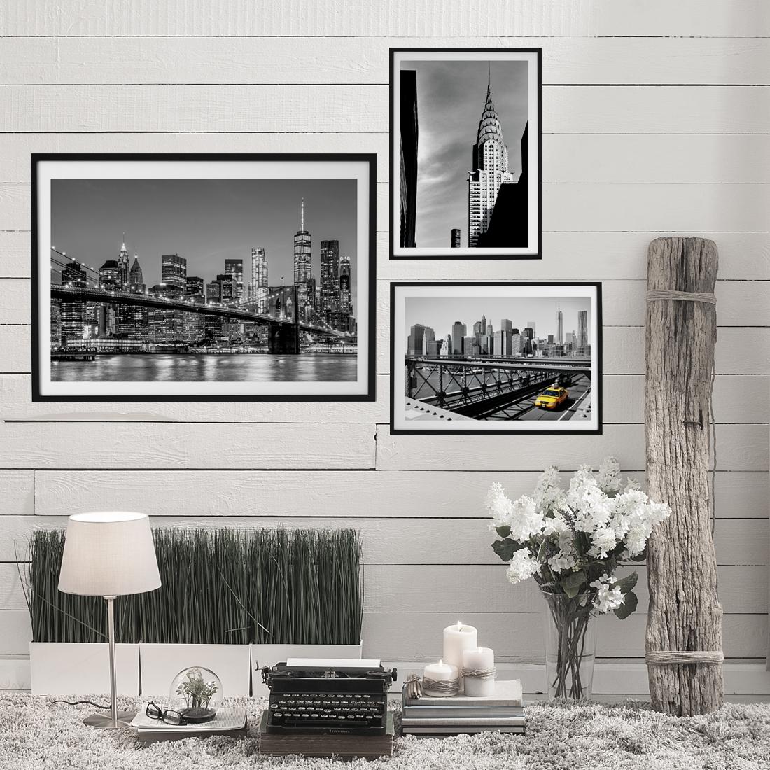 3 plakaty z Nowego Jorku w ramkach