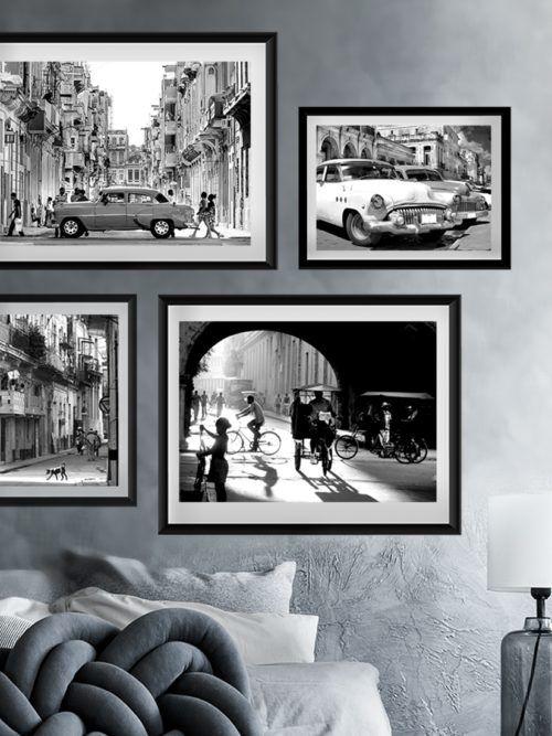 4 plakaty Kuba Stara Hawana zestaw plakatów z Kuby na ścianę, Kuba Hawana zdjęcie uliczki, Havana Cuba plakat fotografia
