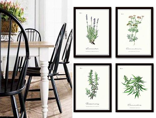 kuchnia skandynawdka dodatki plakaty z ziołami w ramkach plakaty w czarnej ramce do kuchni