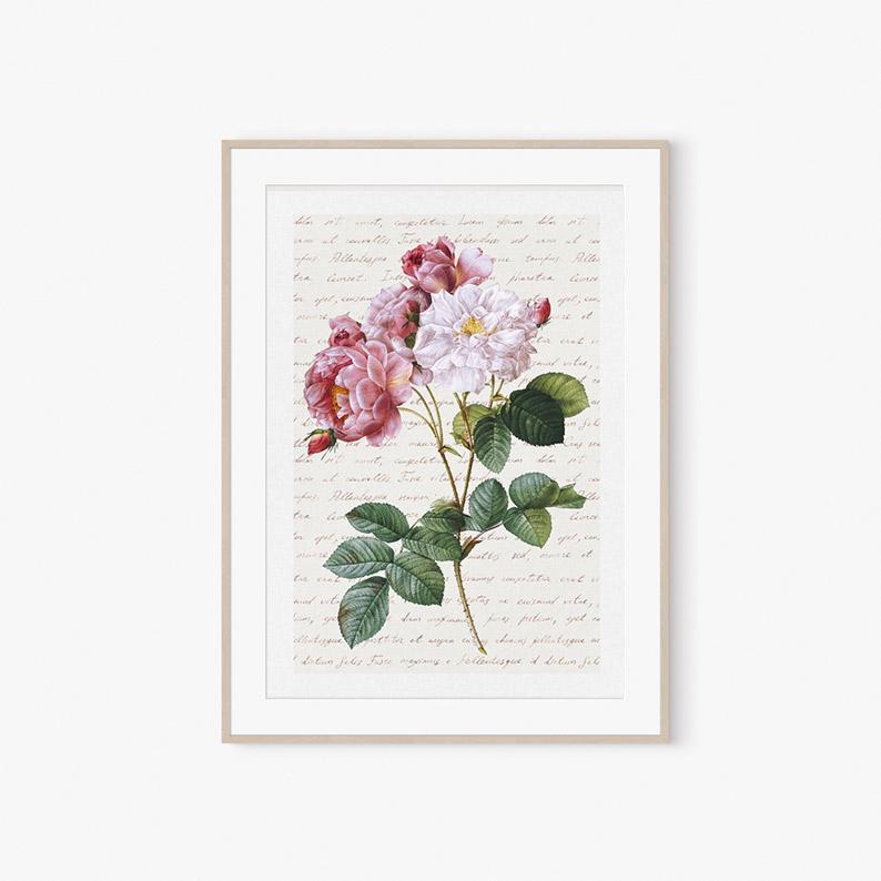 obraz róże kwiaty plakat dekoracja romantyczna plakat vintage kwiaty