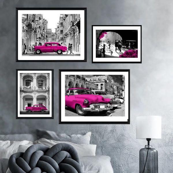 """plakaty na zamównie kuba cuba galeria plakatow-fotsy zdjecia dekoracje z kuby Zestaw plakatów na zamówienie """"Stara Hawana"""", zestaw plakatów na ścianę z dowolnym akcentem kolorystycznym, opracowanym na zamówienie Klienta, czarno białych fotografii ze starej Hawany. Egzotyczna Kuba to inspirujące miejsce na daleką podróż dla kolekcjonerów wspomnień."""