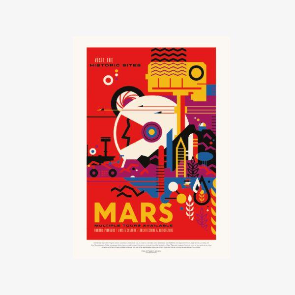 kosmos plakat planeta MARS odkrycia NASA plakaty do druku