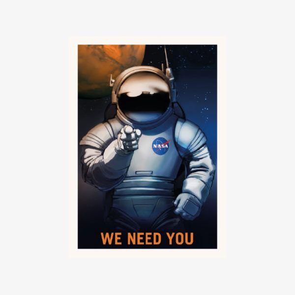 kosmos plakat kosmonauta plakat do druku do pobrania NASA rekrutacja