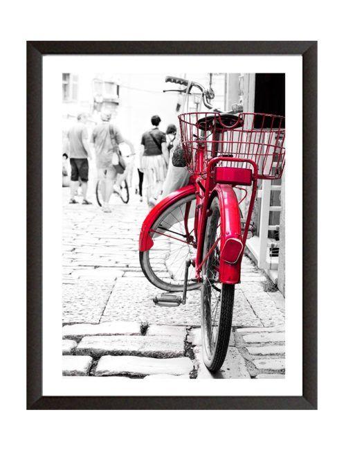 Plakat czerwony rower w ramie amsterdam