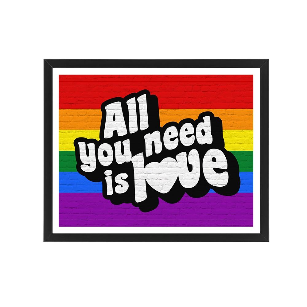"""LGBT Flaga Plakat Graffiti """"All You Need is Love"""" Prezent na walentynki dla LGBT"""